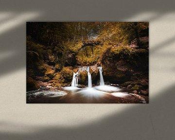 Schiessentümpel waterval in Müllerthal, Luxemburg in herfst kleuren van Chris Snoek
