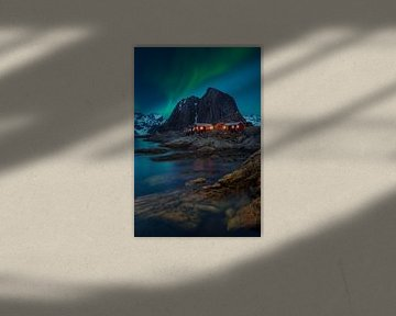 Noorderlicht over Hamnøy van Pieter Struiksma