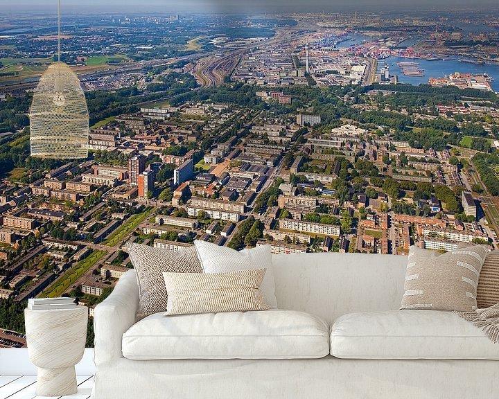 Sfeerimpressie behang: Luchtfoto Pendrecht te Rotterdam van Anton de Zeeuw