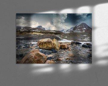 Grote keien bij de Athabasca gletsjer, Canada van Rietje Bulthuis