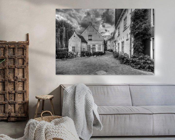 Impression: Muurhuizen historique Amersfoort noir et blanc sur Watze D. de Haan
