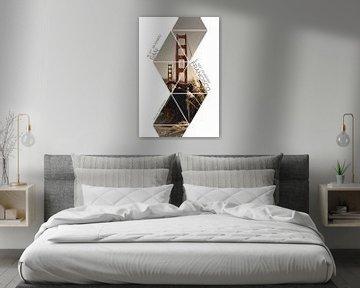 Coördinaten SAN FRANCISCO Golden Gate Bridge van Melanie Viola