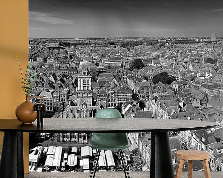 Sfeerimpressie behang: Panorama Delft zwart / wit van Anton de Zeeuw