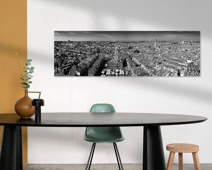 Sfeerimpressie: Panorama Delft zwart / wit van Anton de Zeeuw