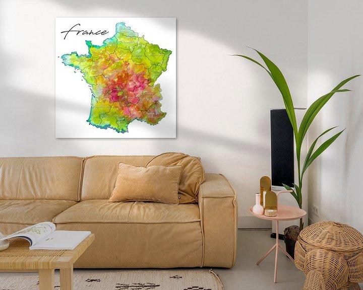 Sfeerimpressie: Frankrijk | Kleurrijke landkaart met Provincienamen van Wereldkaarten.Shop