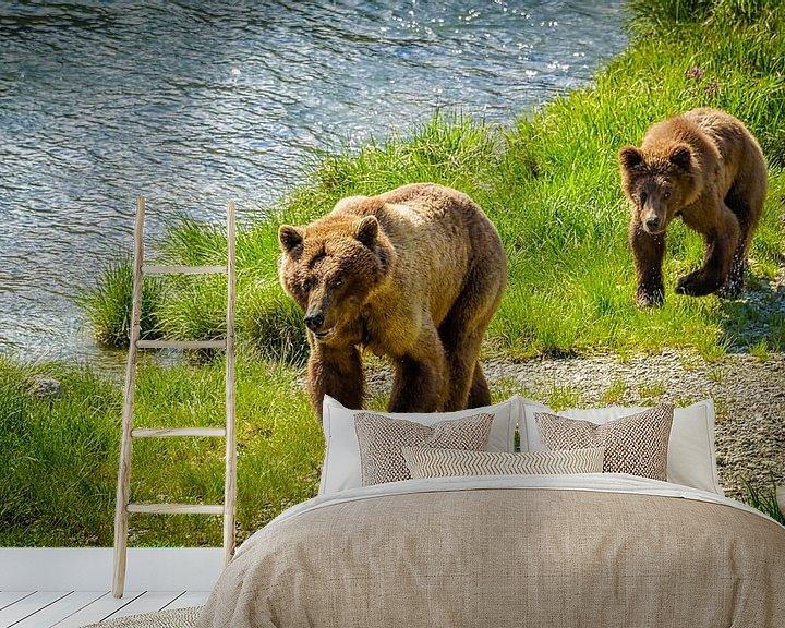 Beispiel fototapete: Grizzlybär mit einem Welpen, der entlang den Fluss, Alaska geht von Rietje Bulthuis