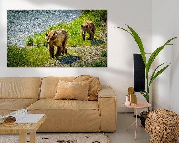 Beispiel: Grizzlybär mit einem Welpen, der entlang den Fluss, Alaska geht von Rietje Bulthuis