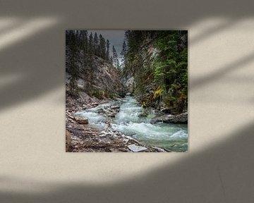 Snel stromend water in Johnston Canyon, Canada van Rietje Bulthuis