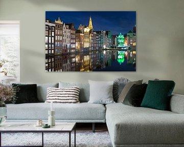 Nachtfoto grachtenpanden te Amsterdam
