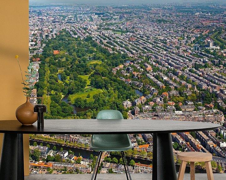 Sfeerimpressie behang: Luchtfoto Vondelpark te Amsterdam van Anton de Zeeuw