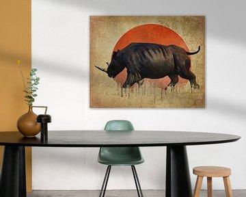 Klimawandel - Rhino Flucht von Jan Keteleer