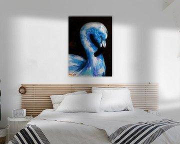 Blauer Flamingo. von Ineke de Rijk
