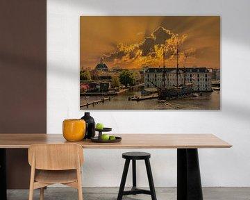 Sonnenuntergang, Amsterdam, Die Niederlande von Maarten Kost