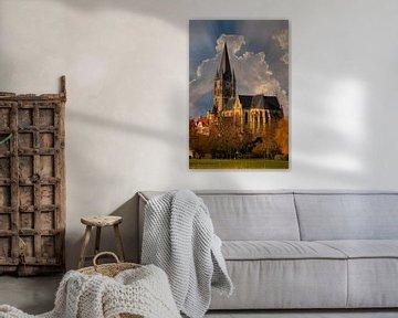 Church, Sunset, Thorn. Limburg, The Netherlands van Maarten Kost