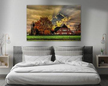 Wolken, Bauernhof, Woudenberg, Niederlande von Maarten Kost