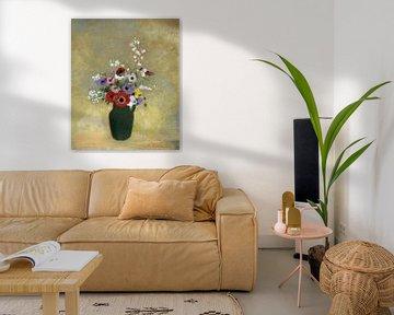 Grote groene vaas met gemengde bloemen, Odilon Redon