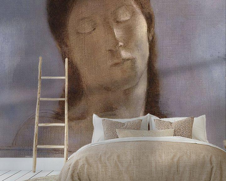 Beispiel fototapete: Gesloten ogen, Odilon Redon