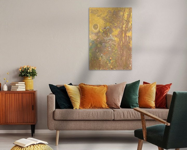 Beispiel: Trees on a yellow Background, Odilon Redon