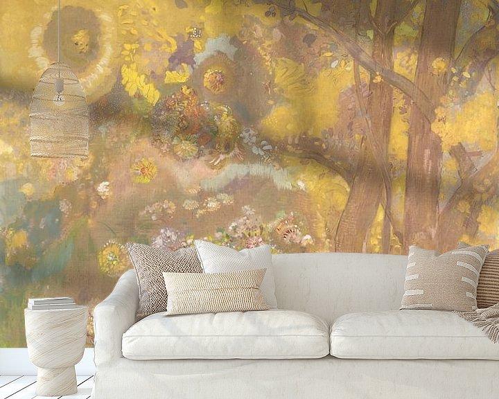 Beispiel fototapete: Trees on a yellow Background, Odilon Redon