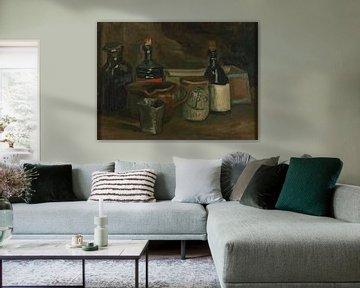 Stilleven met flessen en aardewerk, Vincent van Gogh