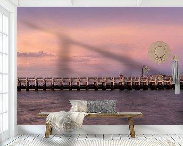 mooie wolken tijdens de  zonsondergang aan de pier van Nieuwpoort aan de belgische kust, Belgie van Fotografie Krist / Top Foto Vlaanderen