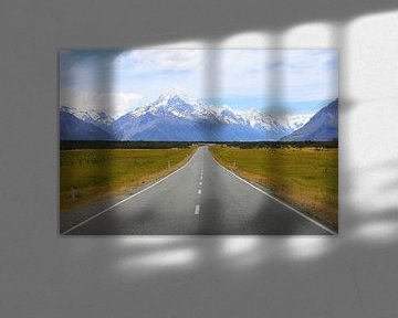 De weg naar Mount Cook / Nieuw - Zeeland