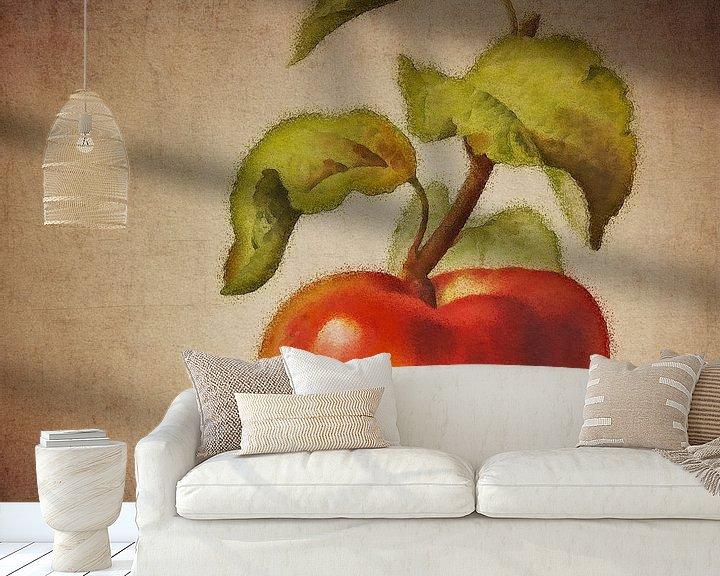 Sfeerimpressie behang: Rode appel - Antieke tekening van een Rode appel    Bloemen Collectie © designed by Jan Keteleer van Jan Keteleer