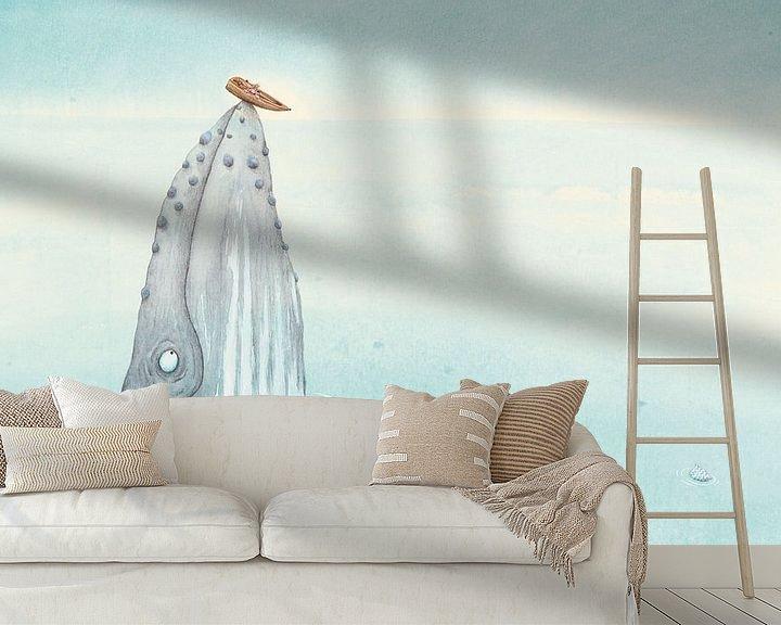 Sfeerimpressie behang: Een bultrug op zee van Marieke Nelissen