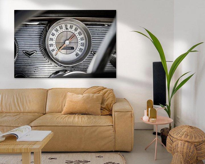 Impression: Tableau de bord Chevrolet Bel Air avec indicateur de vitesse sur Jan van Dasler