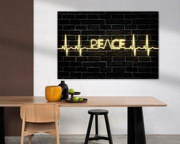 Peacezeichen EKG Herzschlag Frieden von Felix Brönnimann