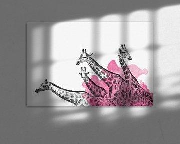 Hand-gezeichnete Giraffen Familie Aquarell von Felix Brönnimann