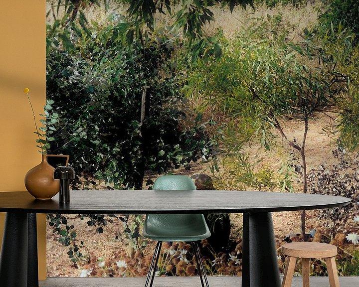 Sfeerimpressie behang: Uitrusten. van Ineke de Rijk