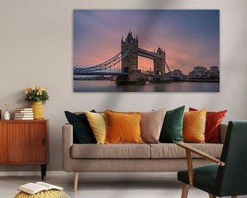 Tower Bridge over de Theems, London, Engeland van Henk Meijer Photography