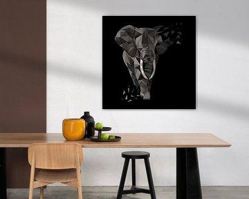 Elefant Dreiecke Low Poly Style von Felix Brönnimann