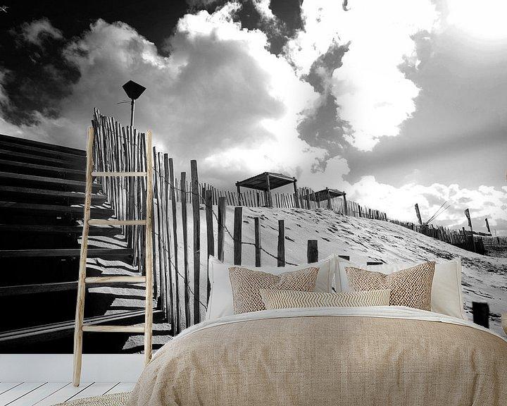 Sfeerimpressie behang: Duinen, Nederlandse kust (zwart-wit) van Rob Blok