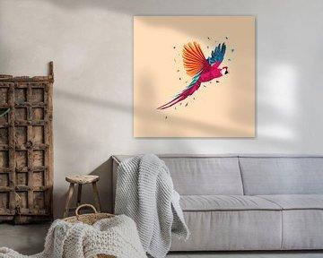 Papagei Low Poly Kunst von Felix Brönnimann
