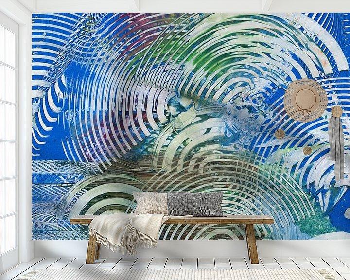 Sfeerimpressie behang: Blauwe boogjes van Bethina de Reus