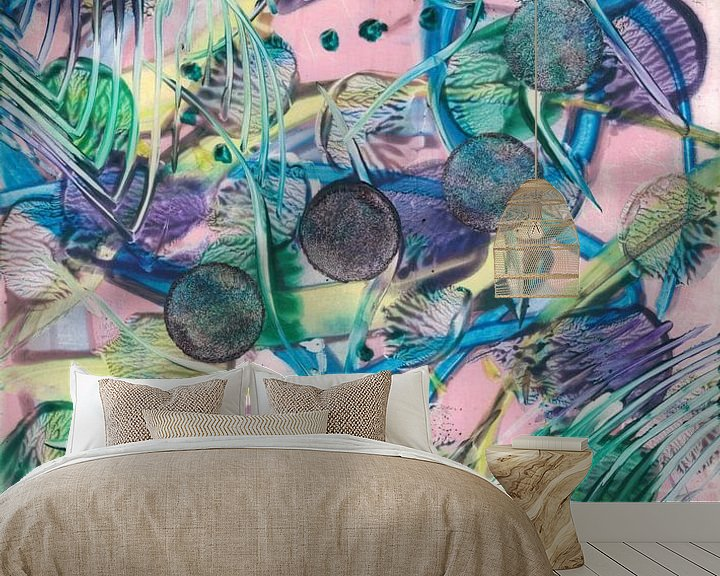 Sfeerimpressie behang: Neon power van Bethina de Reus