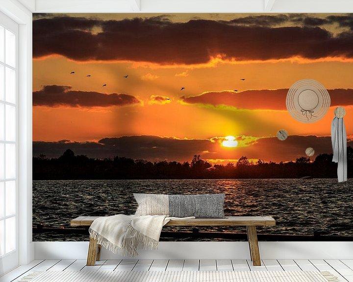 Sfeerimpressie behang: Loosdrechtseplassen zonsondergang / sunset van Dick Jeukens