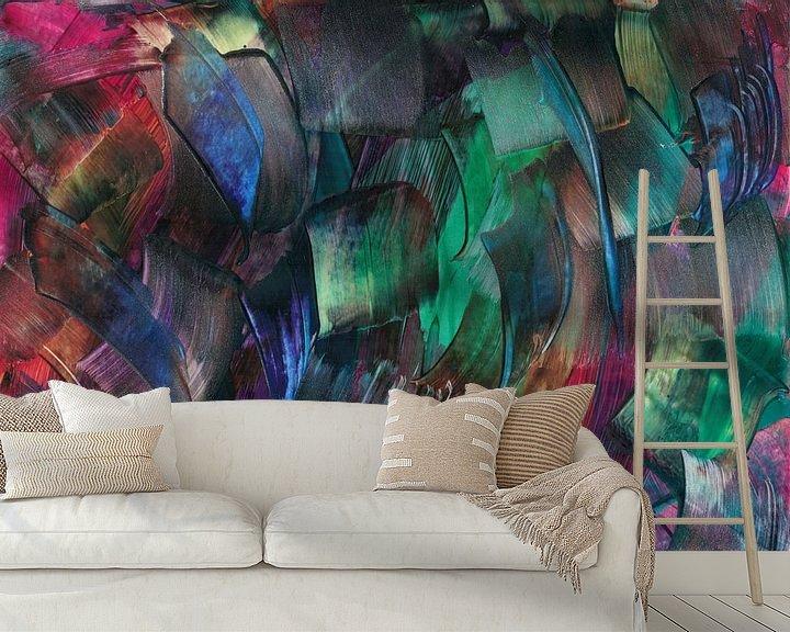 Sfeerimpressie behang: Abstracte gekleurde blokjes van Bethina de Reus