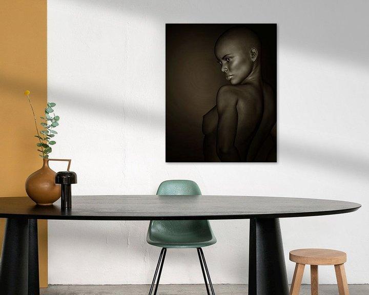 Sfeerimpressie: Vrouw Portretten - Zwart-wit Profiel Van Een Naakt Afrikaans Meisje van Jan Keteleer