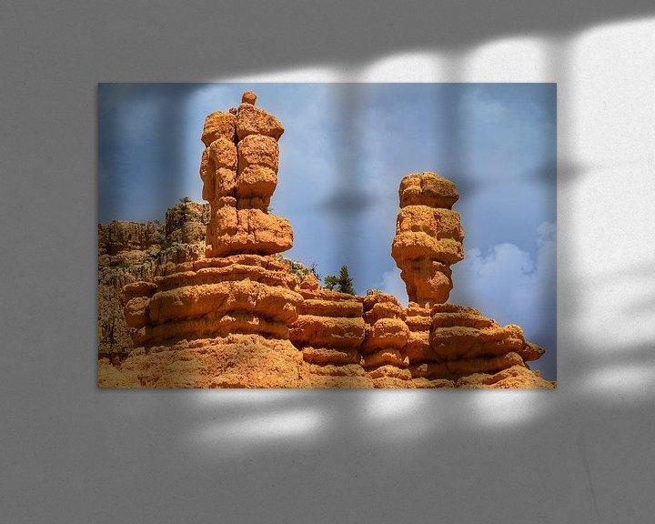 Sfeerimpressie: Bryce Canyon uitzicht met twee kleurrijke stenen pilaren van Jan van Dasler