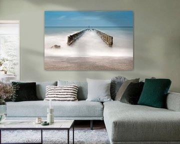 Stapelköpfe auf dem Strand in Zeeland von Miranda van Hulst