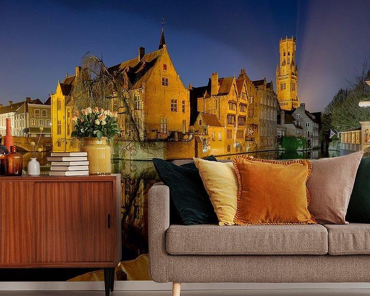 Sfeerimpressie behang: de rozenhoedkaai in Brugge, Belgie van Fotografie Krist / Top Foto Vlaanderen
