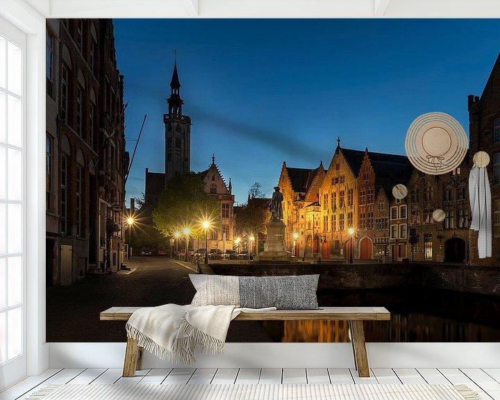 Sfeerimpressie behang: het standbeeld van Jan van Eyckplein in Brugge, Bruges, Belgie, Belgium van Fotografie Krist / Top Foto Vlaanderen