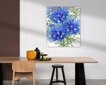 Bleuets abstraits sur Marion Tenbergen
