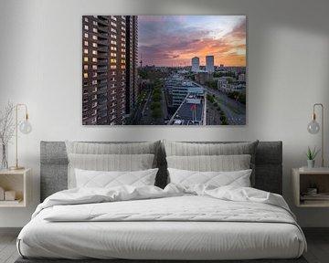Un beau coucher de soleil à Rotterdam sur Arisca van 't Hof