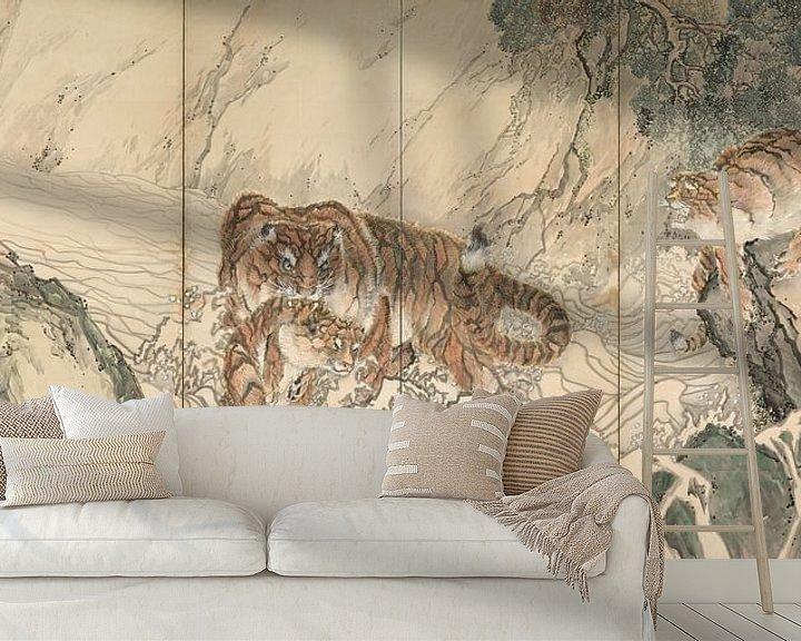 Beispiel fototapete: Kishi Ganku - Tigerfamilie