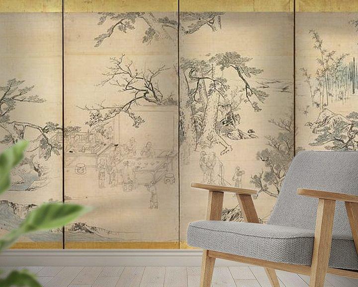 Beispiel fototapete: Maruyama Okyo - Literaturveranstaltung im Orchideenpavillon