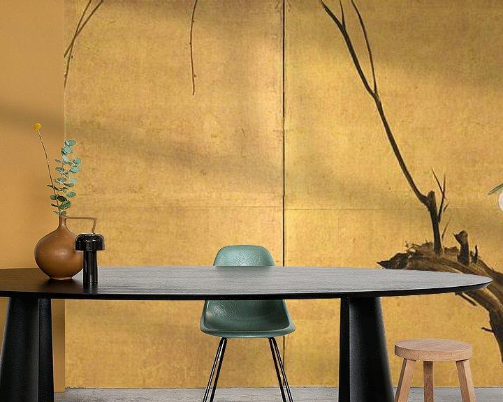 Beispiel fototapete: Maruyama Okyo - Reiher auf einem Weidenzweig
